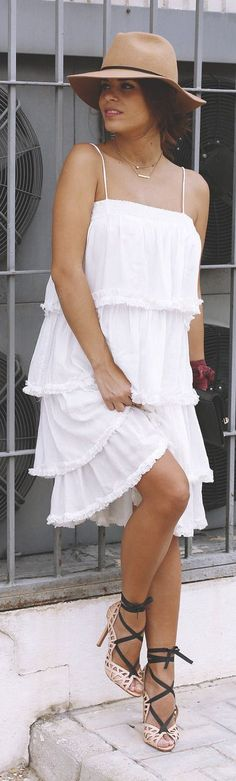 Boho Midi White Dress by Seams For a Desire