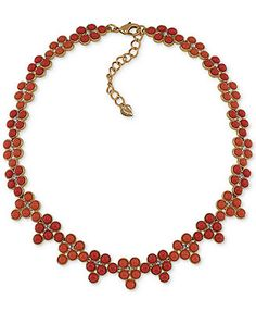 Carolee 12k Gold-Plated Coral Bead Collar Necklace