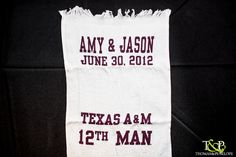 Customized Aggie Rally Towels for Couple's Exit at Wedding - http://www.thomasandpenelope.com/blog