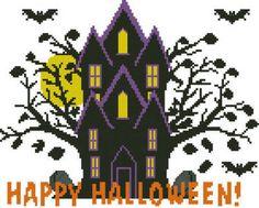Happy Halloween - cross stitch pattern designed by Janet Morningstar. Category: Halloween.