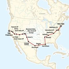 Coast to Coast Road Trip Eastbound: from San Francisco to New York. Stroll the hills of San Francisco, look for wildlife in Yosemite, party in Las Vegas and New Orleans, marvel at the Grand Canyon, relive history in Washington DC, gaze at the New York City skyline.
