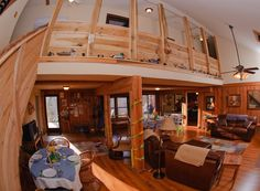 The loft overlooking the main room at the lodge at Rockcliffe Farm Retreat