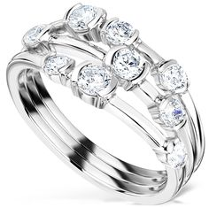 Three Row Diamond Scatter Ring