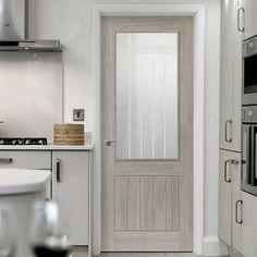 Laminates Colorado Grey Coloured Door with Clear Safety Glass is Prefinished - Lifestyle Image.    #greydoor #glazeddoor