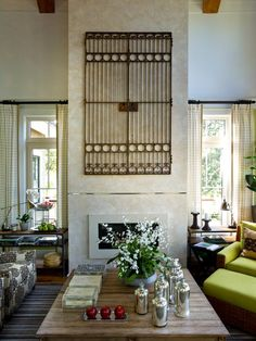 An antique gate sourced in Charleston, South Carolina, becomes wall art in the HGTV Dream Home 2013 great room.