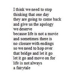 ❤️ or sometimes when you stop thinking about it.. the apologies do come to you out of nowhere 5, 10, 15+ years after the fact. The ironic thing is that you surprisingly don't need the apology anymore because you yourself let go of the pain and anger and moved along when the time was right.