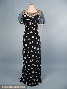 Printed Silk Bias Cut Evening Gown, 1930s, Augusta Auctions, October 2006 Vintage Clothing & Textile Auction, Lot 700