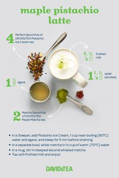 We've tapped into our Canadian roots to bring you the better-than-the-sugar-shack Maple Pistachio latte made with Pistachio Ice Cream tea and Maple Matcha. Agaves, Matcha Tea Powder, Davids Tea, Pistachio Ice Cream, Green Tea Latte, Green Tea For Weight Loss, Japanese Matcha, Smoothie Drinks, Smoothies