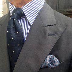 "Style Statement - @rickycarlo ------------------------------------------------- Viola Milano ""Classic Polka Dot 6-fold Grenadine - Navy/White"" tie & handrolled silk pocket square... Shop all essentials online at www.violamilano.com #violamilano #handmade #madeinitaly #luxury #sartorial #timeless #elegance #details #style"