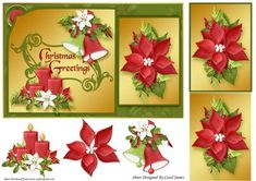 Christmas Greetings 9 on Craftsuprint designed by Carol James - A lovely card front for Christmas. Some pyramage and decoupage pieces for that 3D effect. Sentiment on card readsChristmas Greetings - Now available for download!