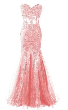 Long Mermaid Lace Prom Dress Sweetheart Sheer Evening
