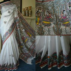 Madhubani painting on pure banglori silk by Priyanka Creations. For order kindly whatsapp at 00447889562384 Saree Painting, Real Model, Madhubani Painting, Lakme Fashion Week, Indian Designer Outfits, Mulberry Silk, Slow Fashion, Indian Art, Sarees