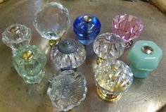 Drawer Pulls Knobs Eclectic Collection Clear Blue Jadeite Green Pink Glass Knobs Pulls Flower Crystal Ball Depression Fluted Diamond
