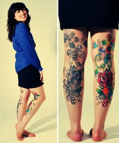 floral backs of legs; this is how my circa tats will look, only they will not go up to my thigh.