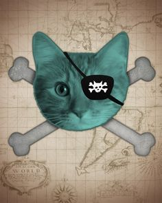 Pirate Cat  Wood Block Print by LuciusArt on Etsy, $39.00