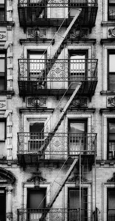 New York City Apartment Building in Black and White, NYC Building Art, Urban Wall Art for a Modern Decor, Landscape Fine Art Photography
