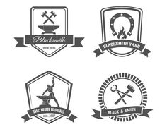 Blacksmith logo set by Microvector on Creative Market