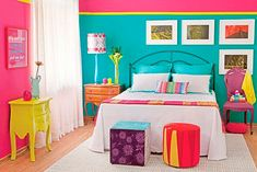 Pink and Green Wall Color Scheme and White Beds in Kids Bedroom Furniture Sets for Girls and Boys Modern Bedroom Decor, Kids Bedroom Furniture, Bedroom Ideas, Kids Bedroom Paint, Bedroom Crafts, Black Furniture, Living Furniture, Design Bedroom, Colour Blocking Interior