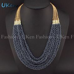 5,31 - Fashion Autumn and Winter Beautiful Style Golden Chain Handmade Colorful Beads Pendant Multi Chains Necklaces Women N2275 - UKen Fashion