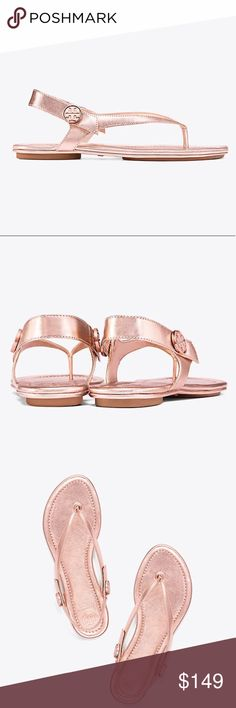Tory Burch Rose gold Minnie Travel sandal New in box, with dust bag Tory Burch Shoes Sandals