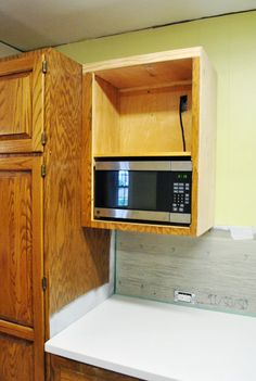 diy microwave shelf for the home pinterest microwave cabinet rh pinterest com