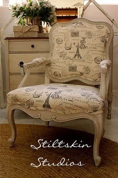 French Bergere Chair White Grey Script Chevron