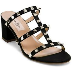 Valentino Rockstud Leather Block Heel Slides Sandals