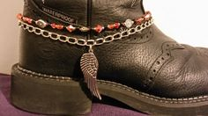 Boot Bling Anklet Jewelry Heavy Chain Harley Orange Glass Beads Angel Wing Charm Wheels Biker Chick Motorcycle Boots .... be simple enough to make...