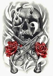 Resultado de imagem para skull and roses drawings
