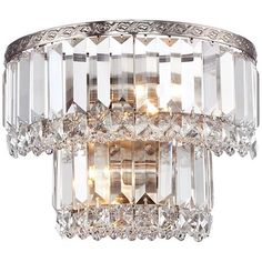"Magnificence Satin Nickel 10"" Wide Crystal Wall Sconce"