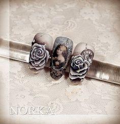 """#naildesign #nailart #elegantnailart #vintagenailart #royalnail N o r k a A n d r e a S z. (@norkanaildesign) on Instagram: """"Gel painting & sticker :)…"""""""