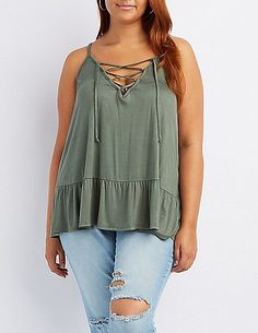 84bcda4ecf712 Plus Size Caged Ruffle-Trim Tank Top Lace Weave