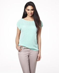 Chiffon and crepe blouse with short sleeves
