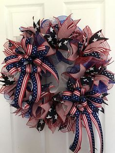 Large Patriotic Wreath Fourth of July Wreath Memorial Day Patriotic Wreath, Patriotic Crafts, July Crafts, Patriotic Party, Fourth Of July Decor, 4th Of July Decorations, July 4th, Memorial Day Decorations, 4th Of July Wreaths