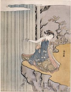 sealmaiden:    Suzuki Harunobu 1724 –1770  [Young woman getting her fingers wet in a waterfall], 18th century