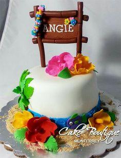 Luau Cake, Pastel Hawaiano Love the name board Luau Birthday Cakes, Luau Cakes, Moana Birthday Party, Beach Cakes, Hawaiian Birthday, Moana Party, Birthday Cake Girls, Luau Party, Hawaiian Luau