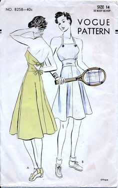 Vogue 8258 Vintage 40s Misses' Play Frock with Shorts Sewing Pattern - Size 14 - Bust 32 di retrowithlana su Etsy https://www.etsy.com/it/listing/239072937/vogue-8258-vintage-40s-misses-play-frock