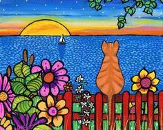 Sunset Garden Orange Tabby Cat  print by AliceinParis on Etsy, $20.00