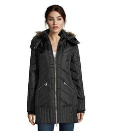 SAM EDELMAN Black Down Jacket Women's XS-S-M Chevron Quilted 'Kate' Hooded Coat…