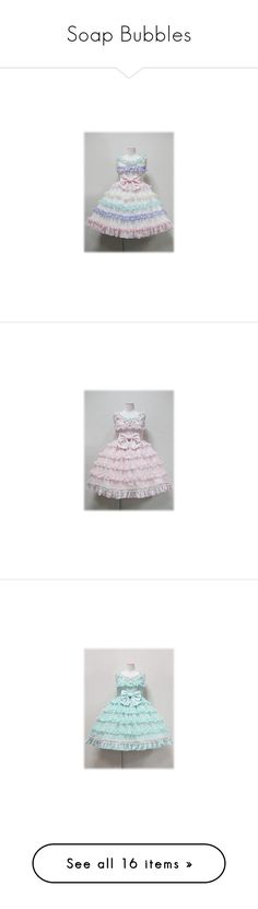 """Soap Bubbles"" by ghiraham-sandwich ❤ liked on Polyvore featuring angelic pretty, dresses, lolita, jsk, jumper skirt, jumperskirt, op, pink, blue and yellow"