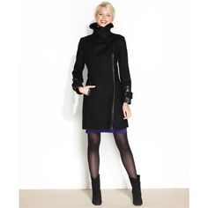 Via Spiga Coat, Faux-Leather-Trim Wool-Blend Walker ($230) found on Polyvore