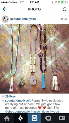 Poppy style necklaces at scout and Molly's of Charlotte