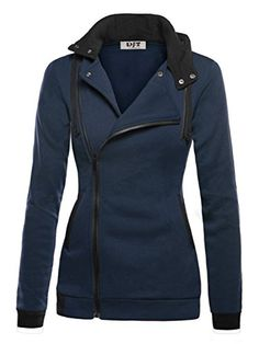 Womens Oblique Zipper Slim Fit Hoodie Jacket with functional collared neck, long sleeve