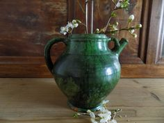 Antique French green terracotta pot, jug, water / wine cruche, rustic French home decor, signed
