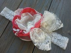 Shop for on Etsy, the place to express your creativity through the buying and selling of handmade and vintage goods. Vintage Headbands, Lace Headbands, Baby Girl Headbands, Girls Boutique, Baby Boutique, Petti Romper, Baby Girl Fashion, Vintage Lace, Fabric Flowers
