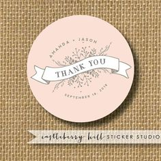Wedding thank you stickers Wedding Stickers by CastleberryHill