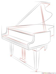 Drawing Tutorials How to draw a grand piano step by step. Drawing tutorials for kids and beginners. Drawing Piano, Piano Art, Drawing Sheet, Drawing Sketches, Drawing Stuff, Drawing Tips, Drawing Ideas, Sketching, Drawing Tutorials For Kids