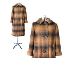 brown coat plaid coat brown winter coat 1960s coat 60s coat
