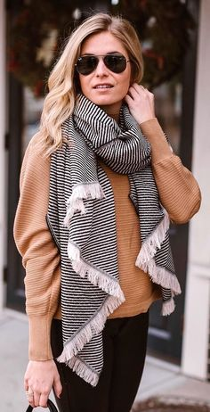 #winter #fashion / Striped Scarf / Brown Knot / Black Jeans
