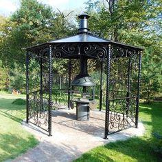 Photo Garden Gazebo, Terrace Garden, Outdoor Areas, Outdoor Structures, Permanent Gazebo, Porches, Barbecue, Victory Garden, Iron Decor